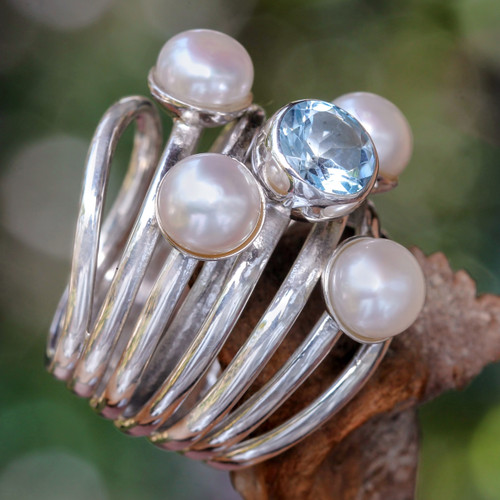 Pearl and Blue Topaz Cocktail Ring 'Heavens Above'