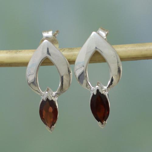 Garnet Button Earrings Modern Sterling Silver Jewelry 'Anticipation'