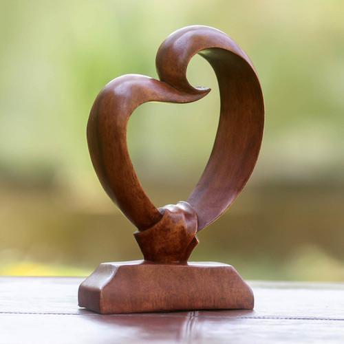Romantic Wood Sculpture 'Heart Bond'