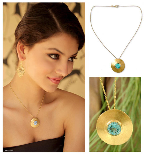 Gold vermeil blue topaz choker 'Sky Shield'