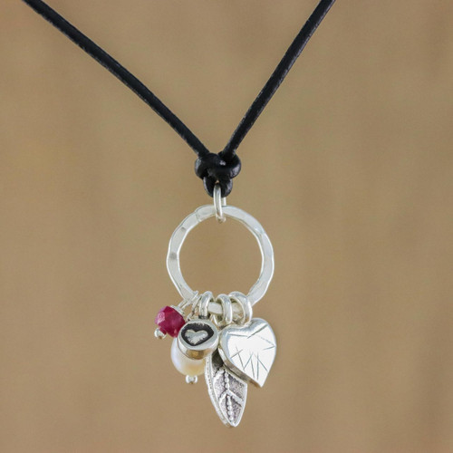 Silver and Leather Pendant Necklace 'Charms of Love'