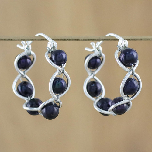 Sterling Silver and Pearl Hoop Earrings 'Shadow Twist'