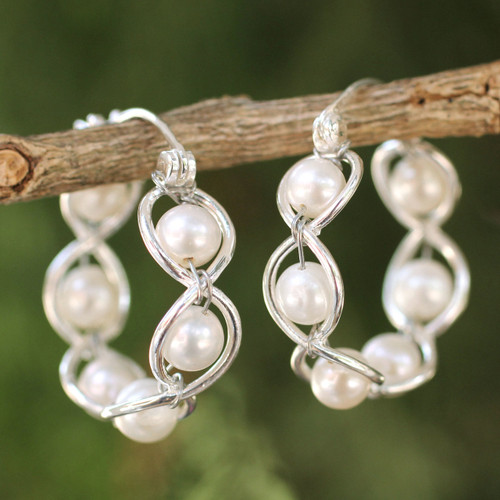 Sterling Silver and Pearl Hoop Earrings 'Cloud Twist'
