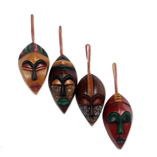 African Wood Christmas Ornaments (Set of 4) 'Celebration Masks'