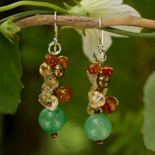 Handcrafted Pearl Carnelian Citrine Cluster Earrings 'Turning Leaves'