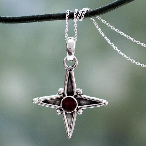 Garnet and Silver Pendant Necklace 'Star of Love'