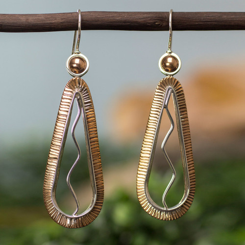 Handmade Copper Accent Silver Earrings from Mexico 'Aura'