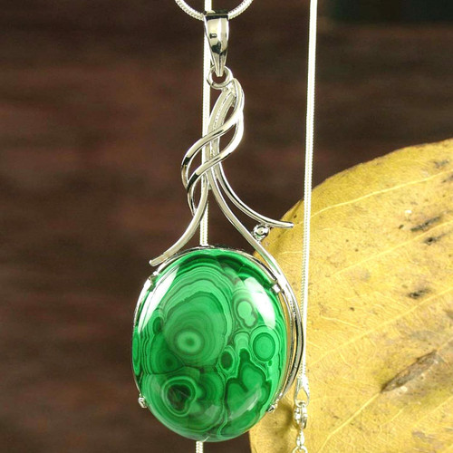 Malachite Pendant Sterling Silver Necklace from India 'Love Lyrics'
