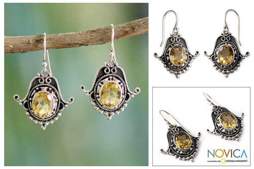 Citrine Earrings in Sterling Silver Jewelry from India 'Jaipuri Glam'
