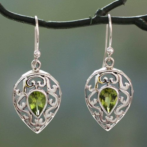 India Jewelry Earrings in Sterling Silver and Peridot  'Lime Lace'