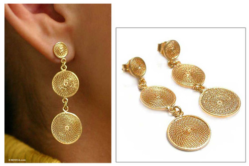Gold Plated Earrings 21k on 925 Silver Filigree 'Starlit Suns'