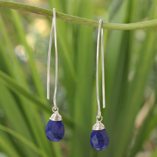 Sterling Silver and Lapis Lazuli Dangle Earrings 'Sublime'