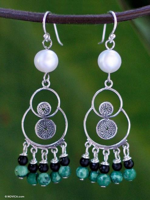 Pearl and malachite chandelier earrings 'Filigree Falls'