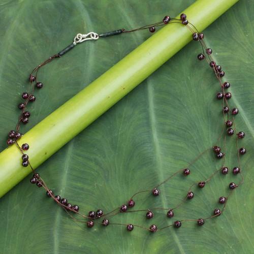 Unique Beaded Garnet Necklace 'Cranberry'
