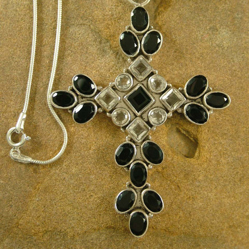 Sterling Silver Onyx and Quartz Necklace Cross Jewelry 'Honesty'