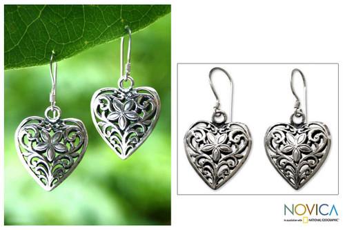 Heart Shaped Sterling Silver Dangle Earrings 'Love Blossoms'