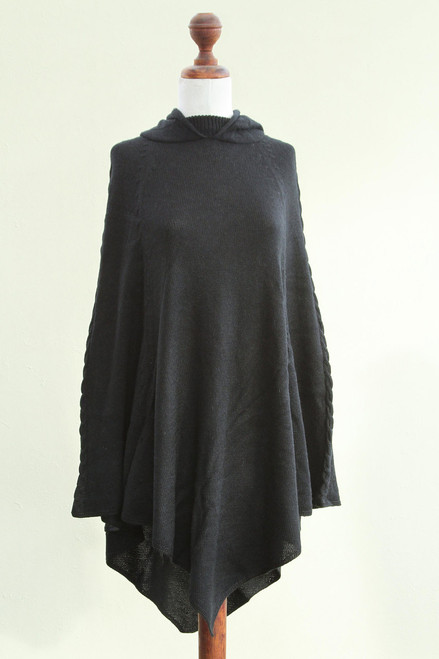Alpaca Wool Blend Poncho from Peru 'Eternal Magic'