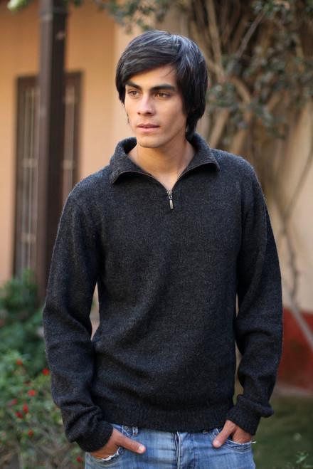 100% Alpaca Wool Grey Men's Pullover Sweater 'Casual Gray'