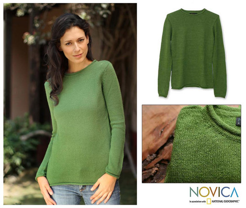 Peru Alpaca Wool Pullover Sweater 'Winter Lime'