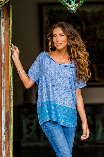 Handmade Blue Rayon Tunic Blouse from Indonesia 'Ocean Dreams'