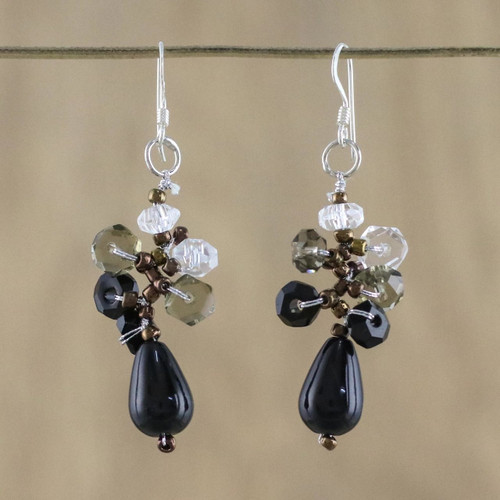 Handmade Thai Dangle Agate Earrings 'Glistening Sophistication'