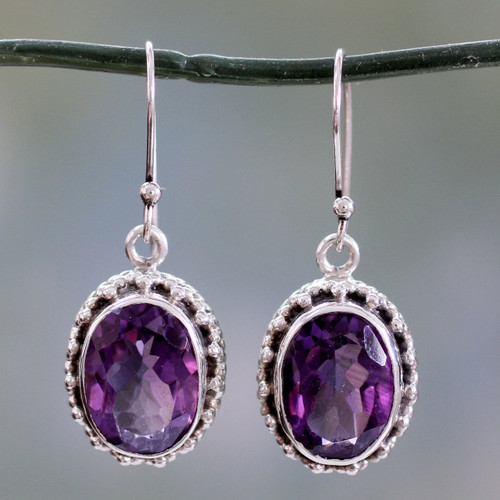 Handmade Sterling Silver and Amethyst Earrings from India 'Dazzle'