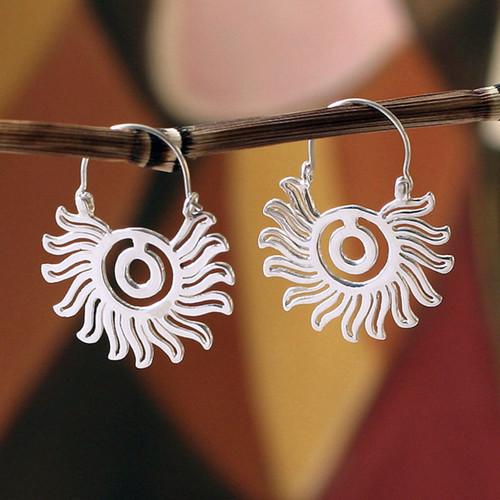 Sterling silver hoop earrings 'Aztec Sun'