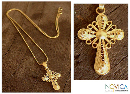 Gold Plated Cross Pendant Necklace 'Cross of Faith'