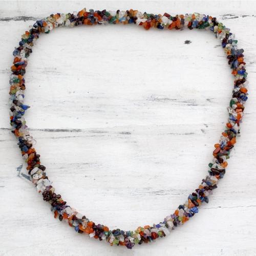 Long Beaded Multigem Necklace 'Rainbow'