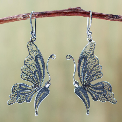 Unique Bridal Fine Silver Filigree Earrings 'Antique Butterfly'