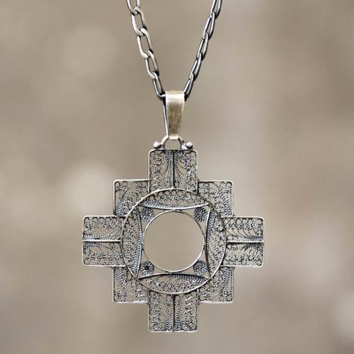 Fine Silver Filigree Pendant Necklace 'Astral Cross'