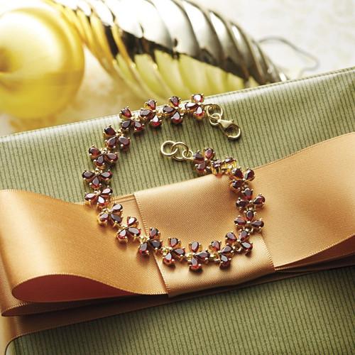 Handcrafted Gold Plated Garnet Bracelet 'Petals'