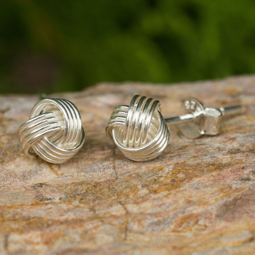 Hand Crafted Thai Sterling Silver Button Earrings 'Together'