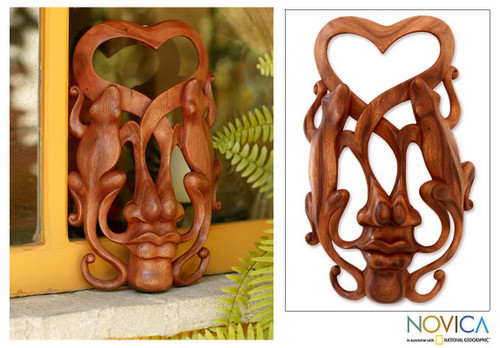 Modern Carved Wood Mask 'Song of Love'