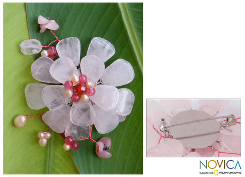 Floral Multigem Rose Quartz Brooch Pin 'Apple Blossom'