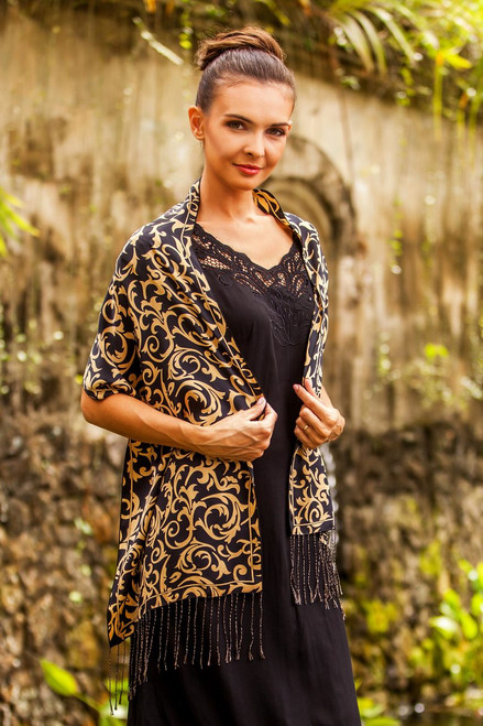 Hand Crafted Batik Silk Patterned Scarf 'Nocturnal Royale'