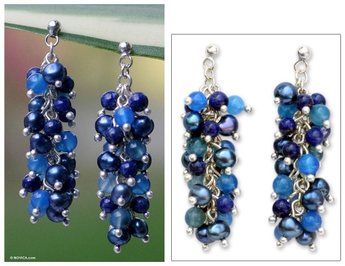 Lapis Lazuli and Pearl Dangle Earrings 'Dazzling Mint'