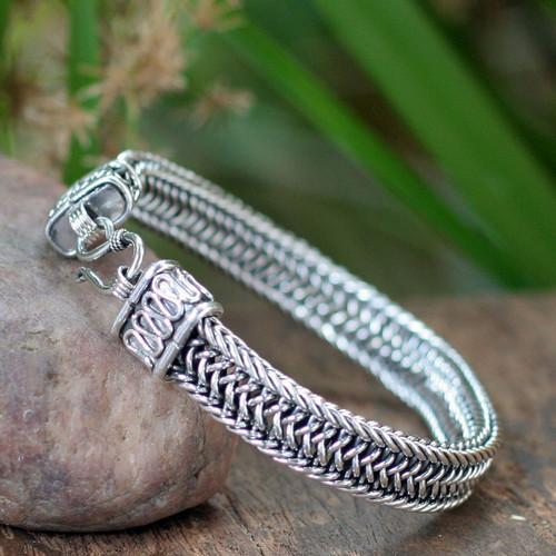 Men's Sterling Silver Chain Bracelet 'Kingdom'