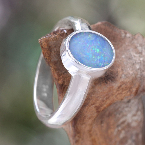 Handcrafted Sterling Silver and Opal Ring 'Intensity'