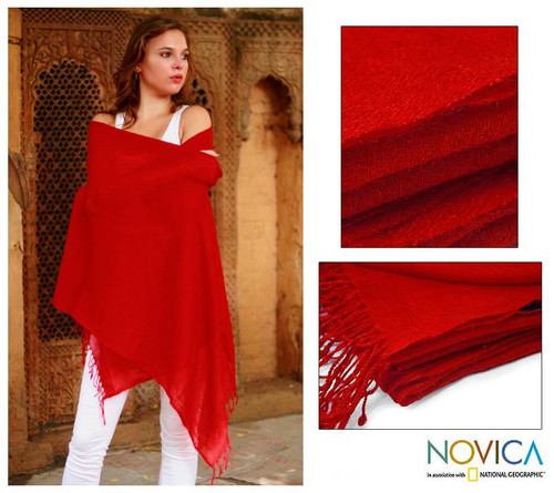 Bright Red 100% Wool Shawl Hand Woven in India 'Romance in Red'
