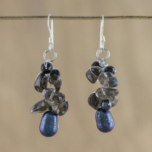 Smoky Quartz and Pearl Cluster Earrings 'Surreal'