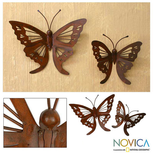 Steel Monarch Wall Sculptures (Pair) 'Butterfly Family'