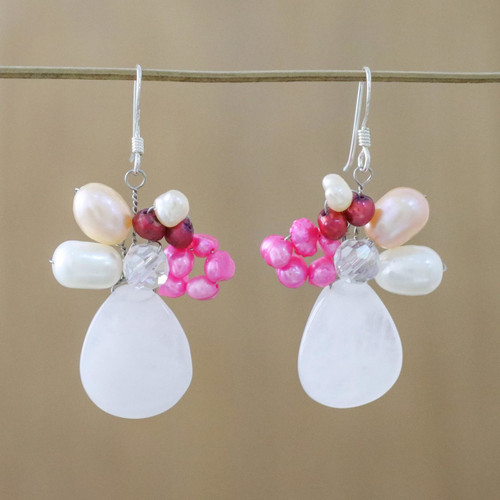 Rose Quartz and Pearl Dangle Earrings 'Rose Aurora'