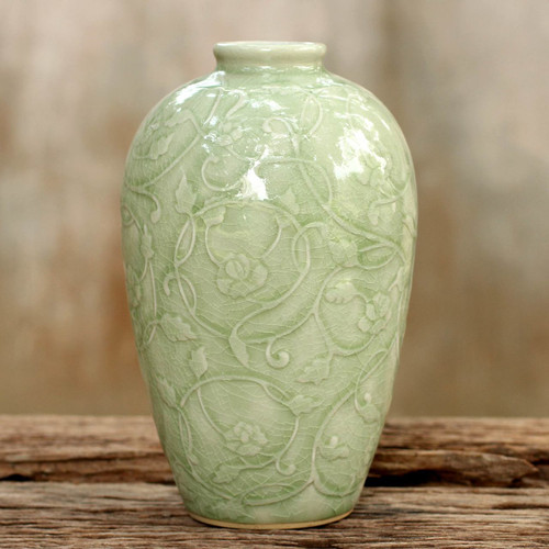 Fair Trade Green Celadon Ceramic Vase 'Wildflower'