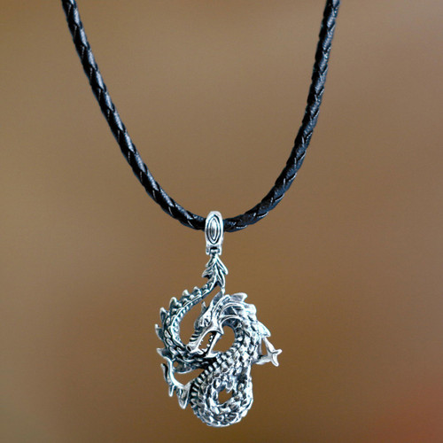 Men's Unique Sterling Silver and Leather Pendant Necklace 'Dancing Dragon'