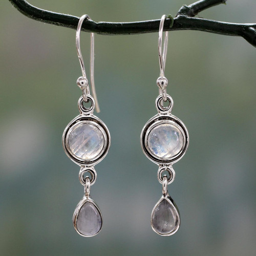Moonstone Earrings in Sterling Silver Handmade in India 'Shimmer'