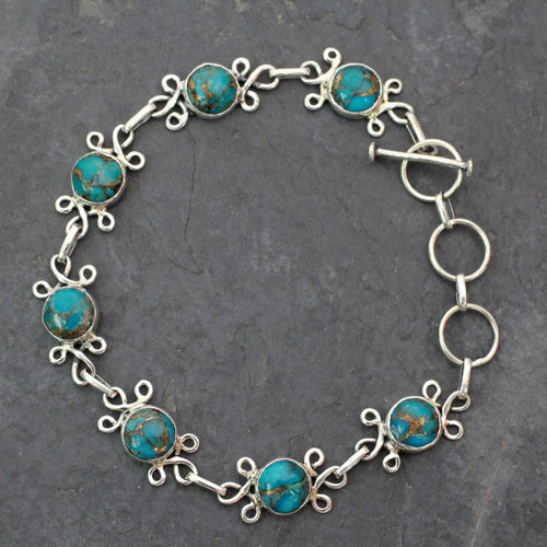 Sterling Silver and Composite Turquoise Bracelet 'Daisy Chain'