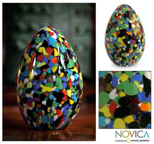 Murano Inspired handblown paperweight 'Confetti Egg'