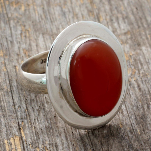 Modern Sterling Silver and Carnelian Ring 'Spicy Hot'
