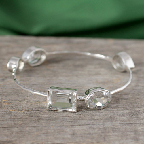 Crystal Quartz Bangle Bracelet Modern Jewelry from India 'Clarity'